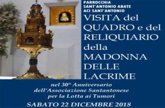 Il quadro del Reliquiario della Madonna delle Lacrime ad Aci Sant'Antonio