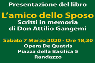 """Presentazione del libro: """"L'amico dello Sposo – Scritti in memoria di Don Attilio Gangemi"""""""